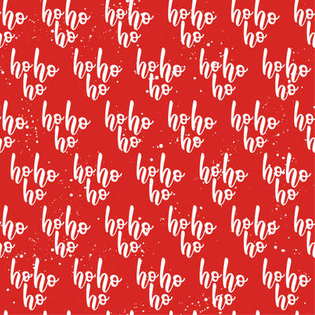 Red seamless pattern with white Ho Ho Ho words. Santa laughing - funny hand drawn doodle, seamless pattern. Lettering poster or t-shirt textile graphic design. / wallpaper, wrapping paper, background.