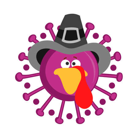 Thanksgiving 2020 turkey face coronavirus - Awareness illustration. Coronavirus (2019-nCoV) Concept of self isolation times. Covid-19 souvenir