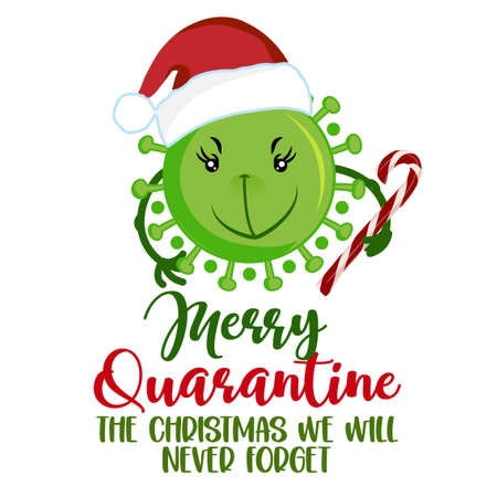 Merry Quarantine, the Christmas we will never forget - green Grinch faced coronavirus covid-19 santa character and candy cane. Xmas greeting cards, invitations. Good for ugly Xmas sweaters, gift. 向量圖像