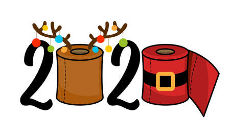 2020 Merry Quarantine Christmas - Cartoon doodle drawing toilet papers in Santa costume and with reindeer antlers. Text for self quarantine times. Xmas decoration. Lettering typography poster.