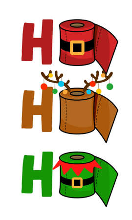 Ho Ho Ho - Merry Christmas 2020 Quarantine, Cartoon doodle drawing toilet papers in Santa and Elf costume and with reindeer antlers. Text for self quarantine times. 2020 special edition Xmas. Stock Illustratie