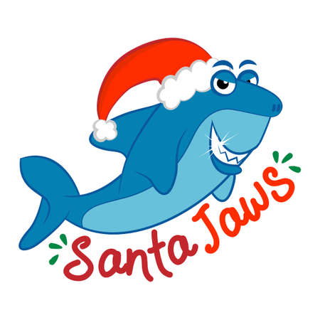 Santa Jaws, Santa Shark - funny vector illustration with text for Christmas. Inspirational quote card, invitation, banner. Kids calligraphy background. Good for t-Shirts, Hoodie, Tank, gifts. Illusztráció