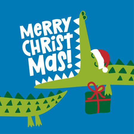 Merry Christmas - Cute Crocodile print design and gift - funny hand drawn doodle, cartoon alligator. Good for Xmas Poster or t-shirt textile graphic design. Vector hand drawn illustration.