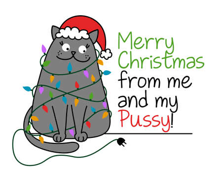 Merry Christmas from me and my pussy - Cute gray cat with Santa hat, tangled in the Christmas lights. Funny doodle animal. Hand drawn lettering for Xmas greetings cards, invitations.