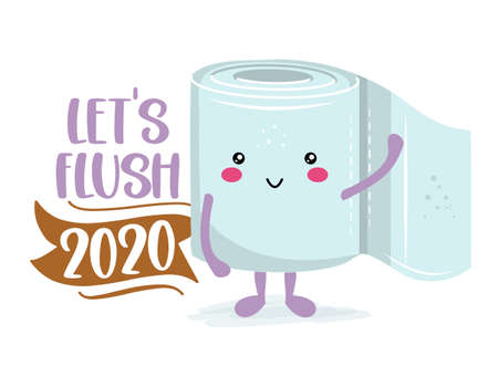 Let's flush 2020 - Funny toilet paper in kawaii style. Coronavirus covid-19 funny character Xmas greeting cards, invitations. For ugly Christmas sweaters, t-shirt, mug, gift, holiday. 2021 new year. Ilustracje wektorowe