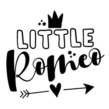 Little Romeo - Cute calligraphy phrase for Valentine's day. Hand drawn lettering for Lovely greetings cards, invitations. Good for t-shirt, mug, scrap booking, gift, printing press. Vettoriali