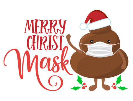 Merry Christmask (Christmas Mask) with Gingerbread Man - Awareness lettering phrase. Social distancing poster with text for self quarantine. Hand letter script motivation sign catch word art design.
