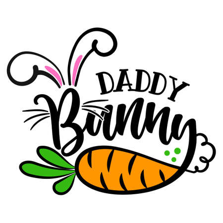 Daddy Bunny - Cute Easter bunny design, funny hand drawn doodle, cartoon Easter rabbit. Ilustracja