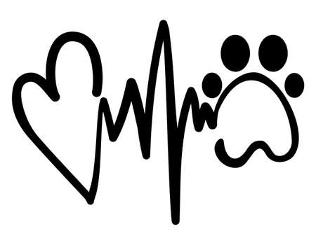 Love Hope dog - Handwritten Vector hearbeat rythm with heart and paw, heart and heart rate shape. Good for tatto design, t shirt, gift, mug. Pet lovers.