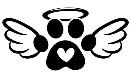 Dog footprint angel with wings, gloria, bone and footprints, paws. - Hand drawn positive tattoo. Modern brush design. Memory ink. Love your dog. Inspirational vector graphic.