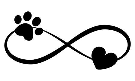 Dog or cat paw prints and heart - in infinity shape - lovely tattoo, ink. Lovely heart with paw print and heart inside infinity symbol. Modern design for pet lovers. Ilustrace