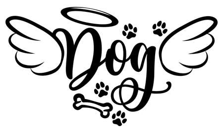 Dog angel with wings, gloria, bone and footprints, paws. - Hand drawn positive tattoo. Modern brush design. Memory ink. Love your dog. Inspirational vector graphic.