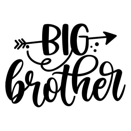 big Bro, big Brother - Scandinavian style illustration text for clothes. Inspirational quote baby shower card, invitation, banner. Kids calligraphy background, lettering typography poster. Vektoros illusztráció