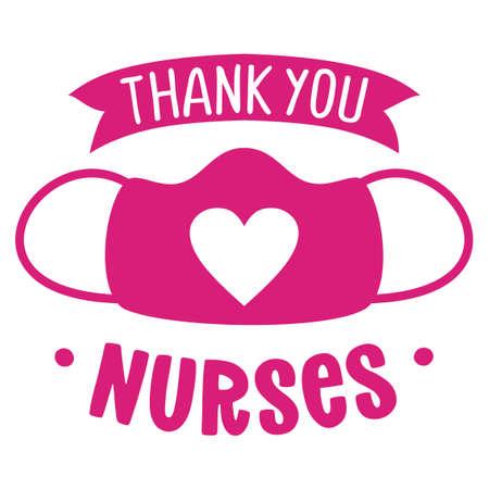 Thank you nurses, face mask with heart shape - STOP coronavirus, doctor t-shirt. Nursing, doctor, practitioner, nurse practitioner t shirt design template, speech bubble design.