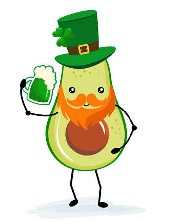 Leprechaun avocado with beer - funny St Patrik's Day kawaii character design with green avocado on white background. Good for posters, flyers, t-shirts, cards, invitations, stickers, banners, gifts.