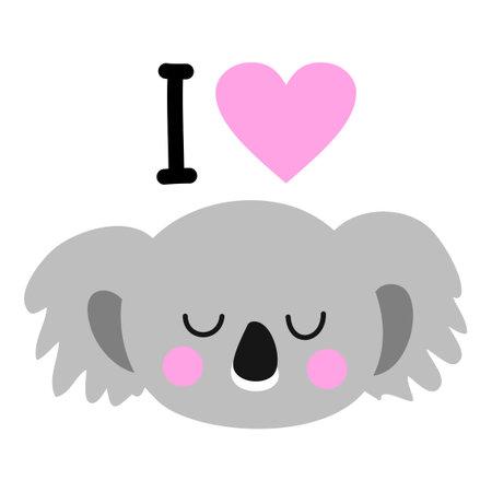 I love coala - Cute australian coala bear with lovely heart. Funny doodle animal. Hand drawn lettering for Valentine's Day greetings cards, invitations. I Love you.
