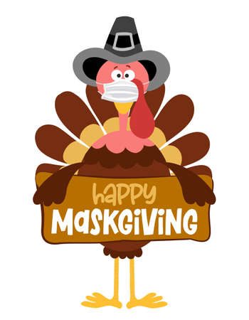 Happy Maskgiving 2021 - Thanksgiving Day poster with cute turkey wearing mask. Autumn color poster. Awareness lettering phrase. Coronavirus (2019-nCoV) Concept of self isolation times. Stop Covid-19.