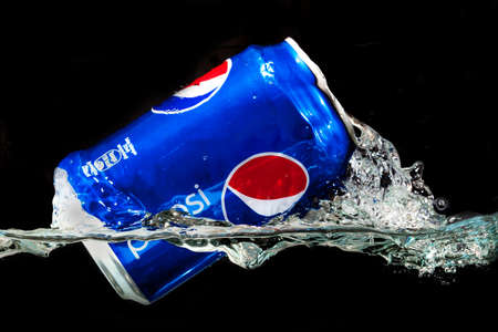 carbonated drink: SABAH, MALAYSIA - JANUARY 13, 2015: Can of Pepsi drink isolated on white. Pepsi is carbonated soft drink produced by PepsiCo. Pepsi was created and developed in 1893 Editorial