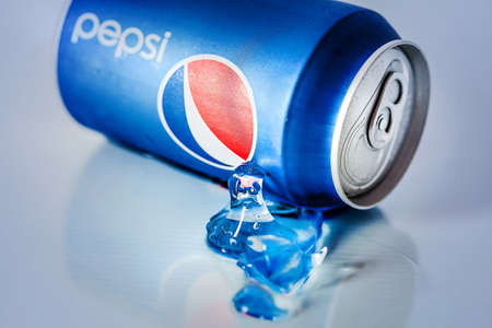 packshot: SABAH, MALAYSIA - JANUARY 13, 2015: Can of Pepsi drink isolated on white. Pepsi is carbonated soft drink produced by PepsiCo. Pepsi was created and developed in 1893 Editorial