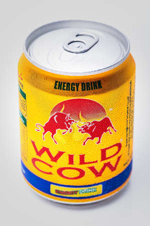 energy drink: SABAH, MALAYSIA - JANUARY 13, 2015. Can of  Wild Cow energy drink isolated on white. Editorial