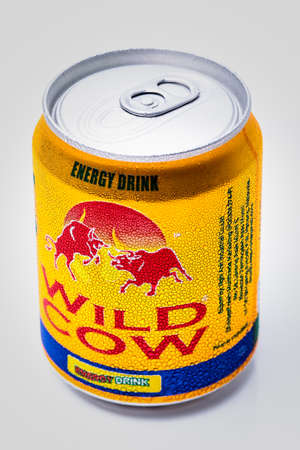 SABAH, MALAYSIA - JANUARY 13, 2015. Can of  Wild Cow energy drink isolated on white. Editorial
