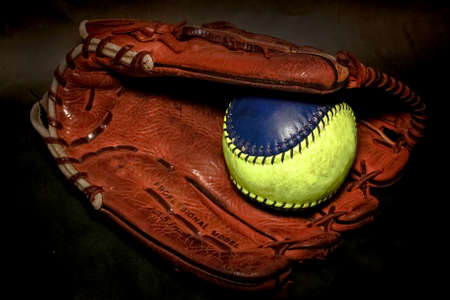 softball: Closeup of a Softball Glove and ball