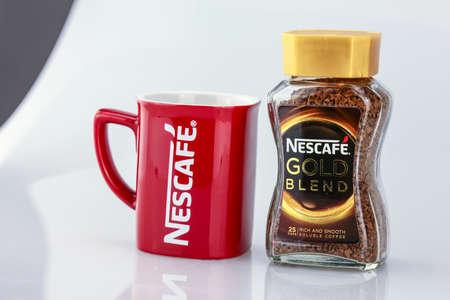 nescafe: KUALA LUMPUR, MALAYSIA - APRIL 16, 2016: Nescafe Gold Blend instant coffee.
