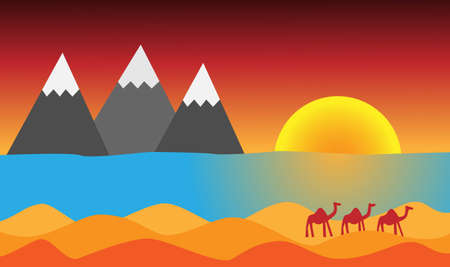 camels: Sun mountains sea sahara and camels Illustration