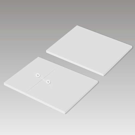 Realistic sealed envelope mock up. Back and top view Vector