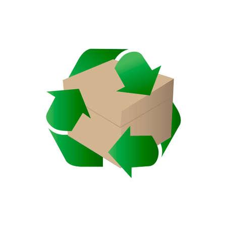 Caja de cartón en blanco para el vector de caja de reciclaje.