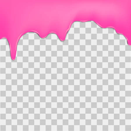 to trickle: Purple dripping cream on transparent background. Vector.