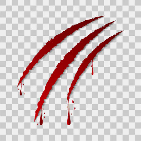 torn edge: Red claws with blood on transperent background for Halloween. Vector