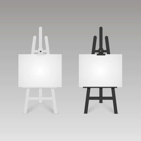 Set of wooden white and black sienna easels. Illustration