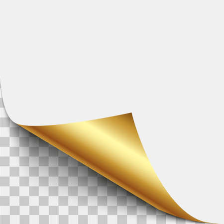 Gold page corner peel. Gold page curled fold with shadow. Blank sheet of folded sticky paper note. Vector illustration sticker peel for advertising and promotional message isolated on white background.