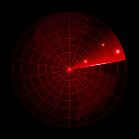 Realistic vector radar in searching.  Radar with the aims on itVector. Vectores