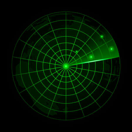 Realistic vector radar in searching.  Radar with the aims on itVector. Illustration
