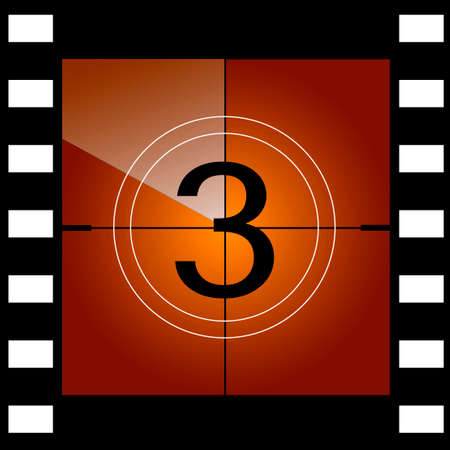 Old film movie countdown frame. Vector. Vettoriali