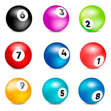 Balles de loterie Bingo. Jeu de boules de numéro de loterie Vector coloré. Illustration vectorielle