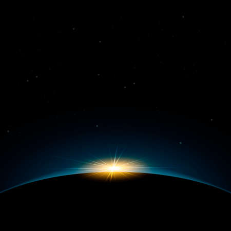 Dawn from space. Dawn from space. Rising sun behind the earth. Vector background Иллюстрация