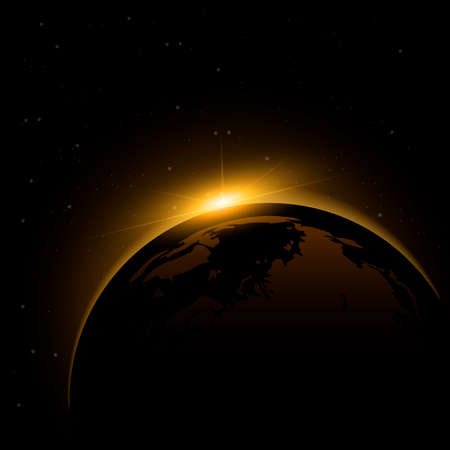 Dawn from space. Dawn from space. Rising sun behind the earth. Vector background 向量圖像