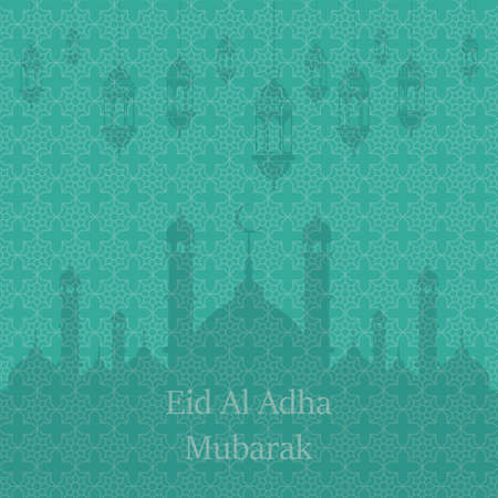 Islamic Festival of Sacrifice, Eid Al Adha Mubarak Greeting Card. Vector background.