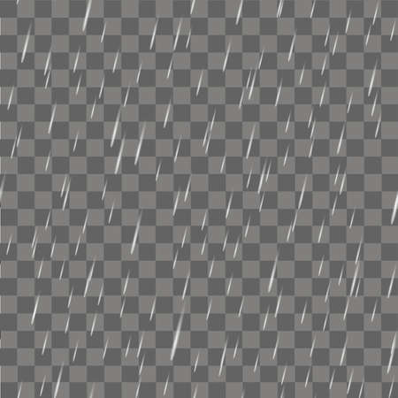 Realistic rain or water raindrops on transparent background. Vector.