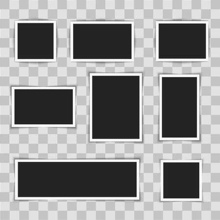 Fotolijstjes op transparante achtergrond. Vector illustratie.