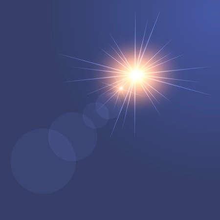 Sunlight special lens flare light effect on blue background. Vector. Illustration