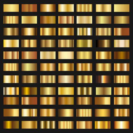 Set of Gold gradient background vector texture metallic illustration. Vectores