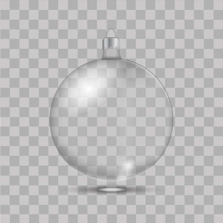 Christmas glass toy on transparent background. Vector