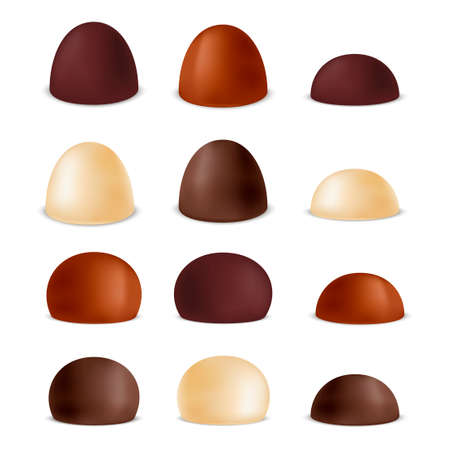 sherbet: Set of realistic various chocolate candies. Vector illustration