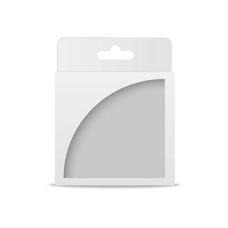 White product mock up package box with window illustration isolated on white background. Product packing vector Çizim