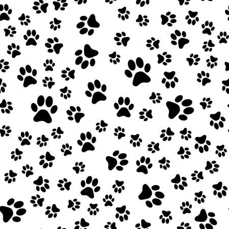 Seamless pattern with cat footprints. Vector illustration.