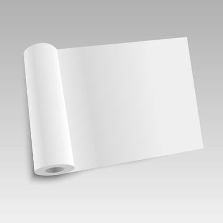 Blank open magazine template with rolled pages. Vector illustration